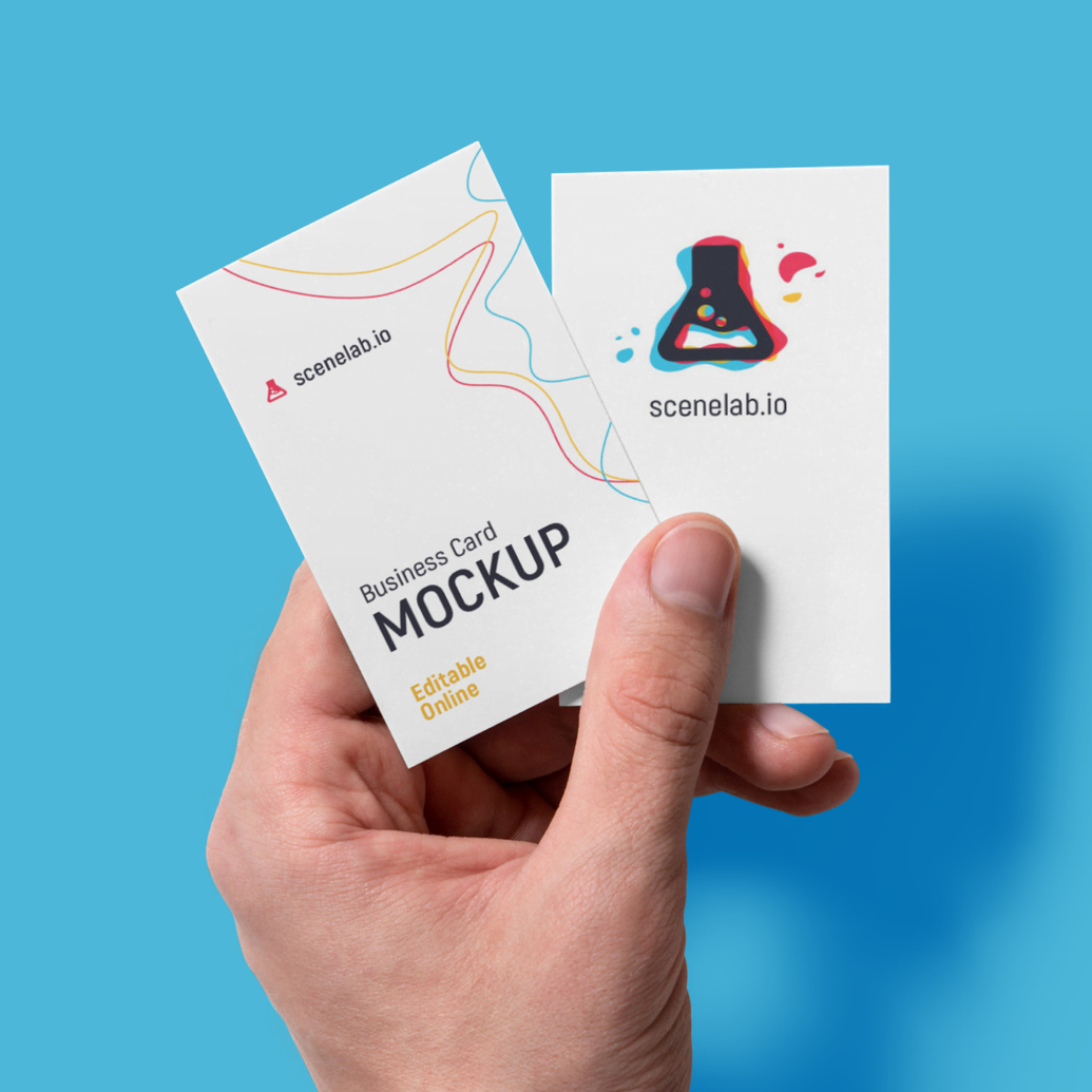 Free simple mockup template with two business cards held in hand